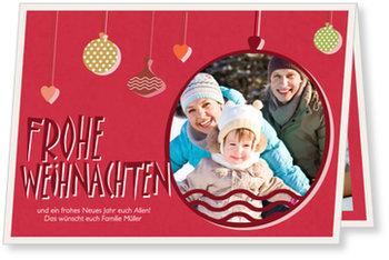 Aktuelle Weihnachtskarten, Frohe Weihnachten - Kugel in Rot