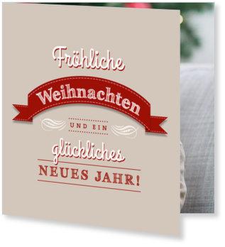 Aktuelle Weihnachtskarten, Genähte Banderole in Braun