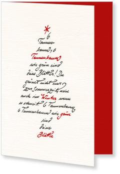 Aktuelle Weihnachtskarten, Kalligrafie Bäumchen