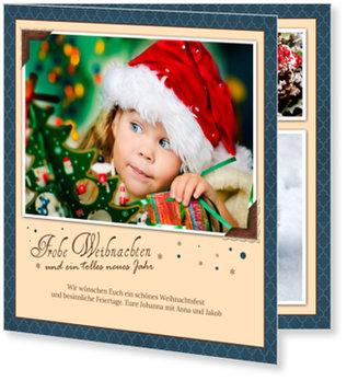Aktuelle Weihnachtskarten, Kleine Fotoecken in Blau