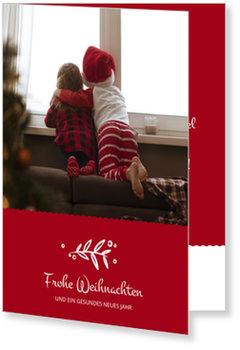 Aktuelle Weihnachtskarten, Kleiner Zweig in Rot