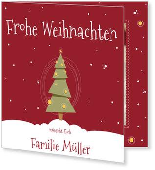 Aktuelle Weihnachtskarten, Kleines Bäumchen in Rot