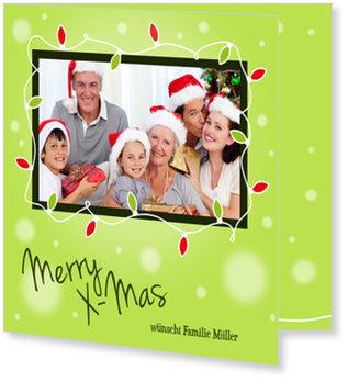 Aktuelle Weihnachtskarten, Lichterkette auf Grün
