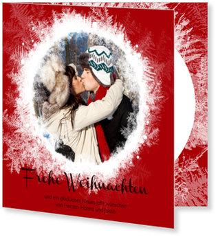 Aktuelle Weihnachtskarten, Magische Schneekugel in Rot
