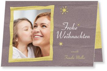 Aktuelle Weihnachtskarten, Papierrahmen in Taupe