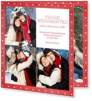 Aktuelle Weihnachtskarten, Pünktchenrahmen in Rot