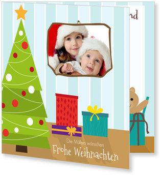 Aktuelle Weihnachtskarten, Rahmen auf Blau
