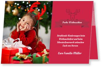 Aktuelle Weihnachtskarten, Rentier mit Banner