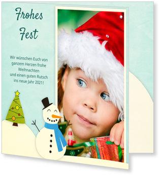 Aktuelle Weihnachtskarten, Schneemann