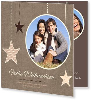 Aktuelle Weihnachtskarten, Sternanhänger in Schokobraun