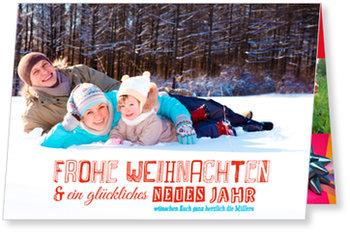 Aktuelle Weihnachtskarten, Typo in Rot