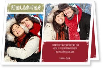 Einladung Weihnachtsfeier, Winterstimmung in Rot
