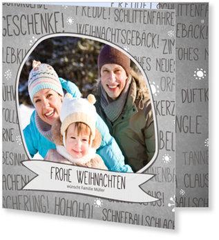 Aktuelle Weihnachtskarten, Wörter und Schneeflocken