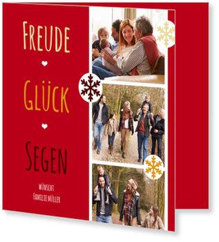 Aktuelle Weihnachtskarten, Wünsche in Rot