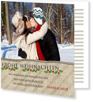 Aktuelle Weihnachtskarten, Jutesack