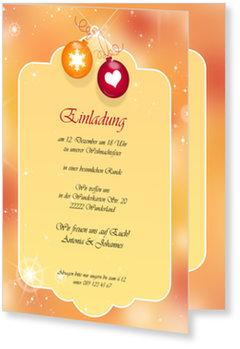 Einladung Weihnachtsfeier, Einladung - Bunte Weihnachtskugeln