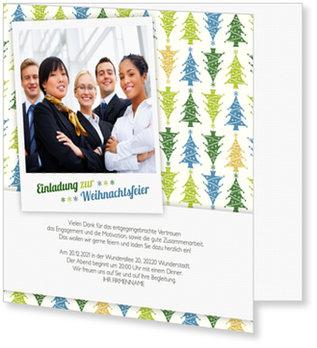 Einladung Weihnachtsfeier, Bunte Bäumchen
