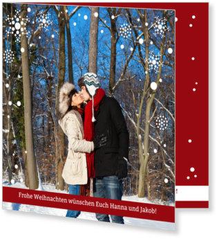 Aktuelle Weihnachtskarten, Weihnachtsflocken in Rot