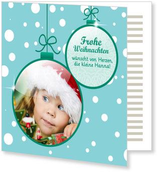 Aktuelle Weihnachtskarten, Zwei Weihnachtskugeln im Schnee