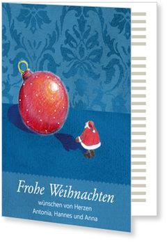 Aktuelle Weihnachtskarten, Weihnachtsmann mit Kugel