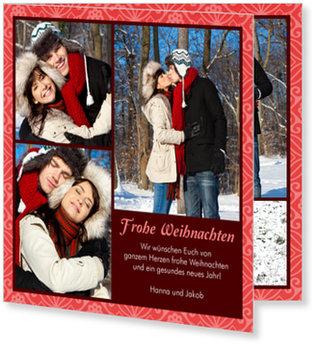 Aktuelle Weihnachtskarten, Weihnachtsornament in Rot