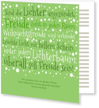 Aktuelle Weihnachtskarten, Weihnachtsvers auf Grün