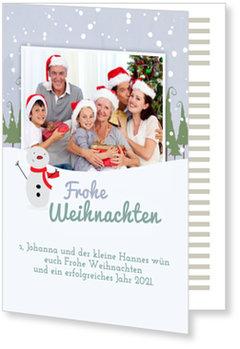 Aktuelle Weihnachtskarten, Winterlandschaft mit Schneemann
