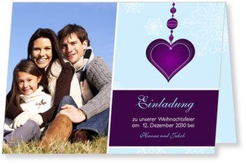 Einladung Weihnachtsfeier, Einladung - Herzanhänger