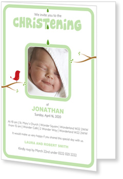 Christening Invitations – personalise with pictures, Birdie`s Christening  - Green