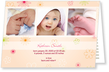 photo baby cards for girls, Delicate Flowers for Girls