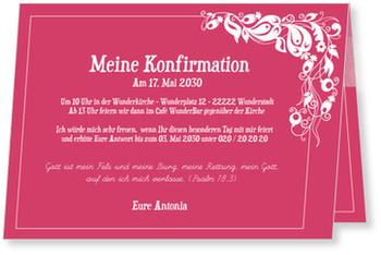 Einladungskarten Konfirmation, Einladung in Himbeere