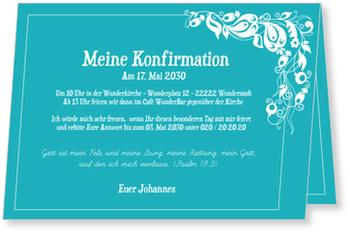 Einladungskarten Konfirmation, Einladung in Himmelblau