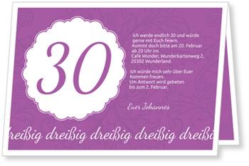 Einladungskarten 30. Geburtstag, Elegante Einladung zum Dreißigsten in Violett