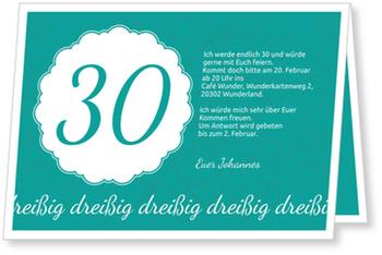 Einladungskarten 30. Geburtstag, Elegante Einladung zum Dreißigsten