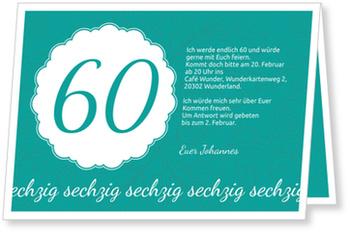 Einladungskarten 60. Geburtstag, Elegante Einladung zum Sechzigsten