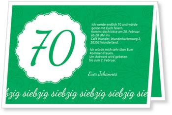 Einladungskarten 70. Geburtstag, Elegante Einladung zum Siebzigsten in Grün