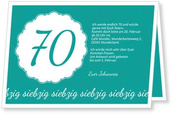 Einladungskarten 70. Geburtstag, Elegante Einladung zum Siebzigsten