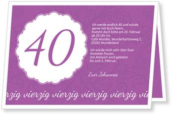 Einladungskarten 40. Geburtstag, Elegante Einladung zum Vierzigsten in Violett