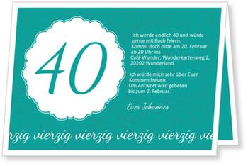 Einladungskarten 40. Geburtstag, Elegante Einladung zum Vierzigsten