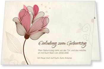 Einladungskarten 60. Geburtstag, Blütentraum in Rosa