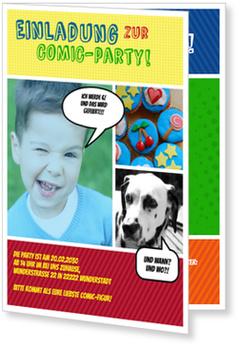 Einladungskarten Kindergeburtstag, Comic Party