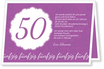 Einladungskarten 50. Geburtstag, Elegante Einladung zum Fünfzigsten in Violett