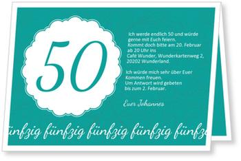 Einladungskarten 50. Geburtstag, Elegante Einladung zum Fünfzigsten