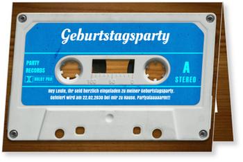 Einladungskarten Geburtstag, Mixtape in Blau