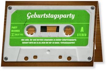 Einladungskarten 50. Geburtstag, Mixtape in Grün
