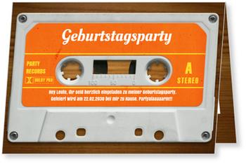 Einladungskarten 50. Geburtstag, Mixtape in Orange