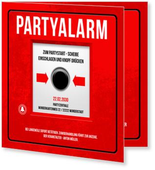 Einladungskarten 50. Geburtstag, Partyalarm