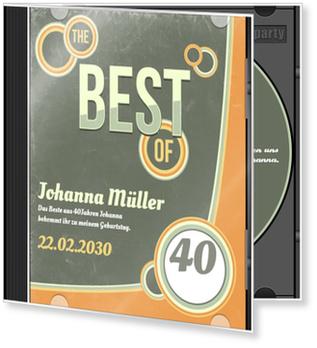 Einladungskarten 40. Geburtstag, CD-Cover Retro