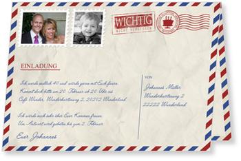 Einladungskarten 40. Geburtstag, Geburtstagsluftpost