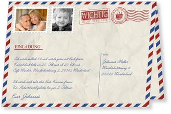 Einladungskarten 50. Geburtstag, Geburtstagsluftpost